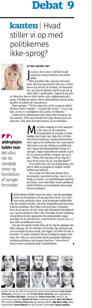 Kristeligt Dagblad 21.11.2017: Hvad stiller vi op med politikernes udenomssnak