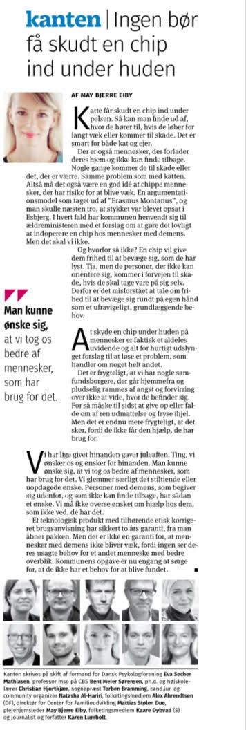 Kristeligt Dagblad Debat 27.12.2017: Ingen bør få skudt en chip ind under huden