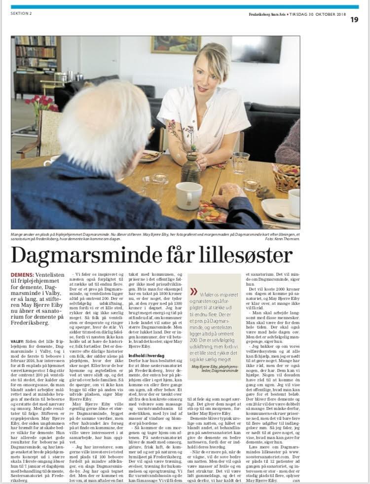 Frederiksborg Amts Avis 30.10.2018: Dagmarsminde får en lillesøster